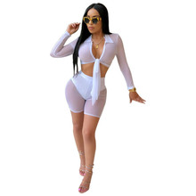 MUXU white sexy transparent long sleeve two piece set top and pants women clothing suits