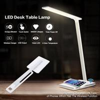 5W US EU UK LED Desk Table Lamp Smart Folding Light With Wireless Desktop Charger USB Flexible Eye Protection Night Book Lights