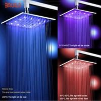 BAKALA 8 10 12 16 Inch Water Powered Rain Led Shower Head Bathroom 3 Colors Led Showerhead. Chuveiro Led