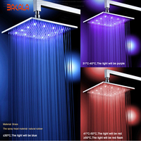 BAKALA 8 10 12 16 Inch Water Powered Rain Led Shower Head Bathroom 3 Colors Led Showerhead. Chuveiro Led