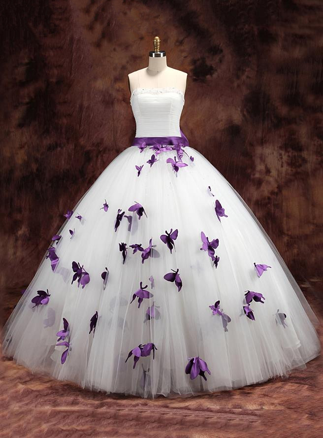 Purple White Two Tones Ball Gown Colorful Wedding Dresses Strapless Non Traditional Erfly Bridal Gowns Vestido De Novia In From Weddings
