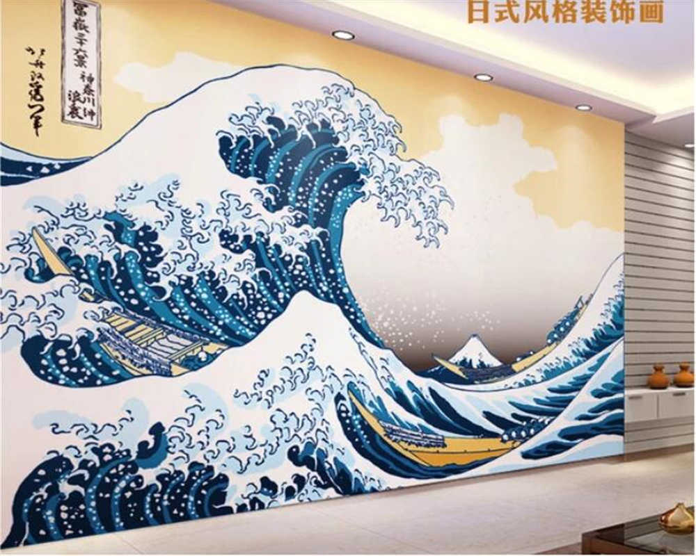 Beibehang Wallpaper For Kids Room Papel De Parede 3d Customized Japanese Style Kanagawa Wave Painting Wall Papers Home Decor