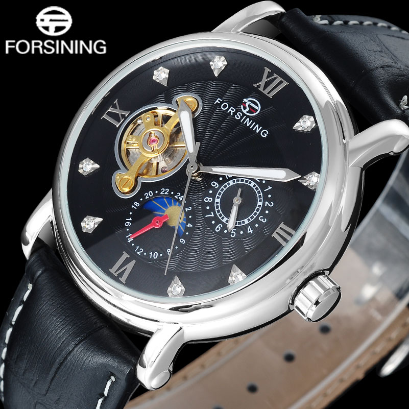 Fashion Casual FORSINING moon phase hour display men watches fashion tourbillion wristwatches automatic Mechanical clock A830