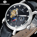 Fashion Casual FORSINING moon phase/hour display men watches fashion tourbillion wristwatches automatic Mechanical clock / A830