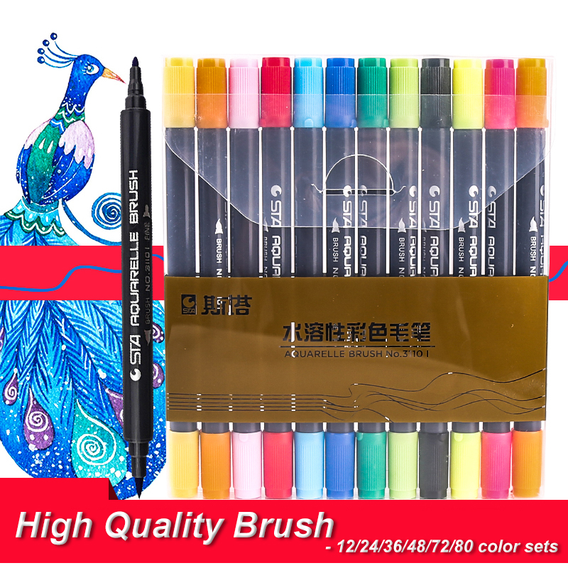 Graphic Drawing Sketch Art Marker Manga Water Based Pigment Ink Twin Marker Pen Aquarelle Brush Marker-12/24/36/48 Color Sets sta 12 24 36 48 80 color twin tips 0 4mm fine brush markers pen water based ink sketch marker pen for drawing manga art supplier