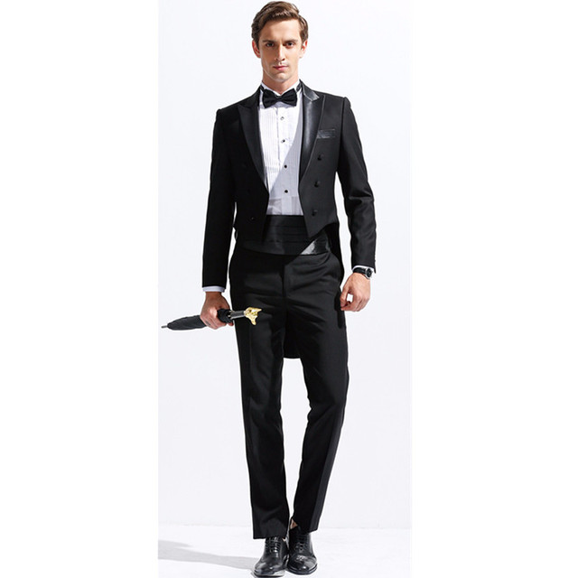 a5951a9a9aed6 New men s suit black suit collar double-breasted men s tuxedo dress and  ball gown (jacket + pants + belt + bow tie) custom made
