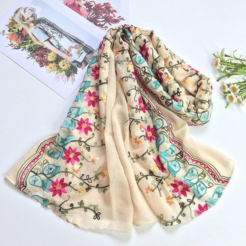 Luxus Design Ethnischen Stil Bunte Blumen Bestickt Schal