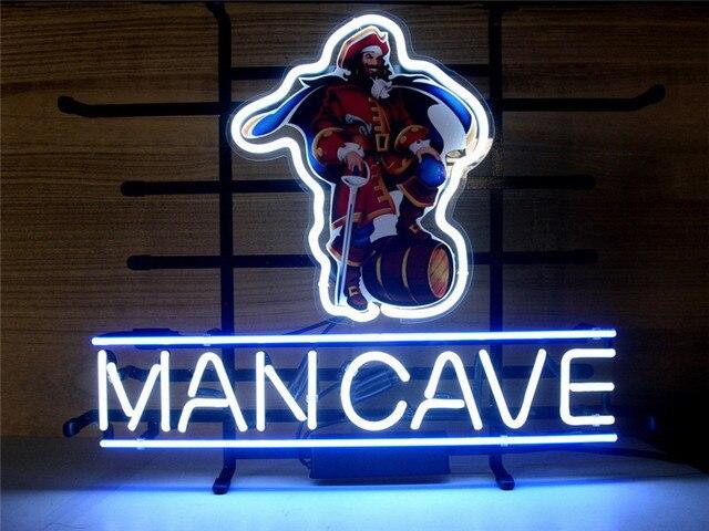 """LEUCHTREKLAME CAPTAIN MORGAN MANNESHÖHLE RUM PIRATE Schild REAL GLAS BIER BAR PUB display weihnachten Licht Zeichen 17*14"""""""