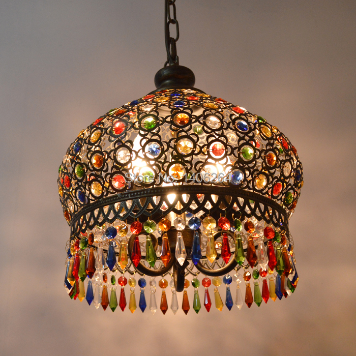 35CM Mediterranean Style Wrought Iron High Quality Crystal Pendant lamp Cafe Bar Coffee Shop Hall Store Club Bedside