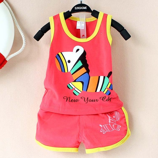 2017 New summer baby clothing set cotton Cute pattern Vest & shorts baby boy clothing sets 0-2 year baby suit set baby clothes  2