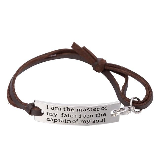Вдохновляющая цитата в моей форме, я являюсь капитаном моей души, регулируемый кожаный браслет, подарки на выпускной
