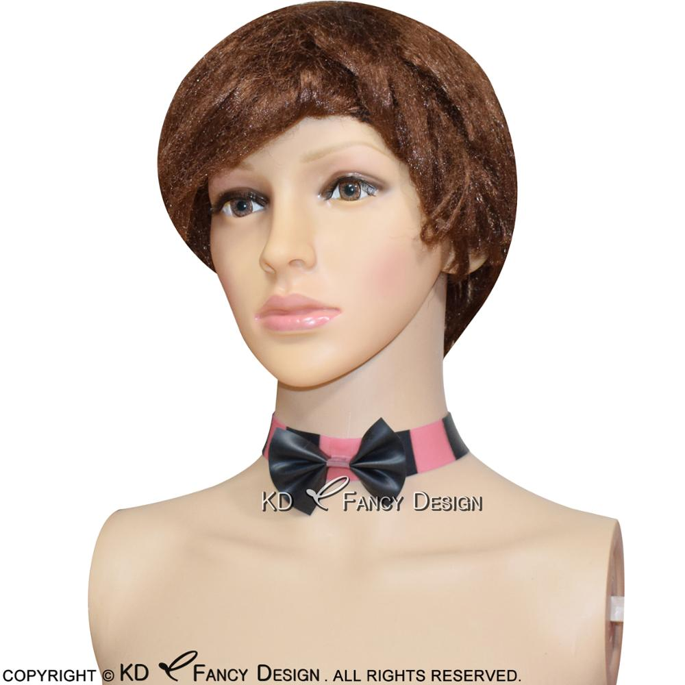 Black With Baby Pink Sexy Latex Neck Collar With Bow Button At Back Rubber Collar For Cosplay JC-0003