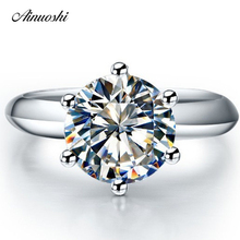 New Classic 1 Carat Synthetic Sona Solitaire Ring Women Wedding Bands 925 Sterling Silver Jewelry Engagement Promise Lovers Ring