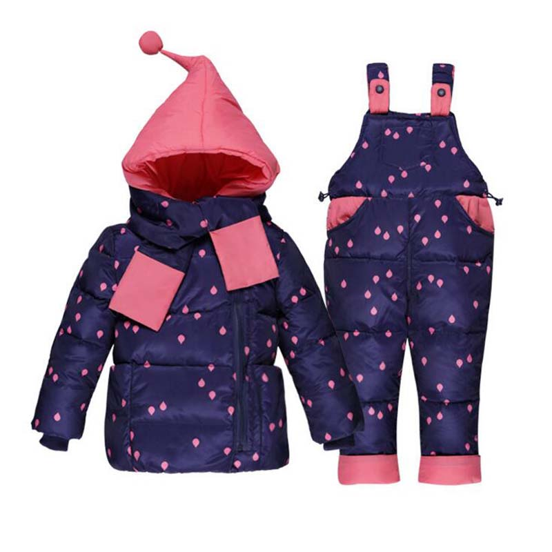 цена на 2018 Children down jackets+pants suit boys girls hooded down coats+pants winter 2 pcs sets high quality baby girls clothes sets