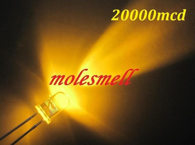 1000 pces 5mm amarelo redondo de alta