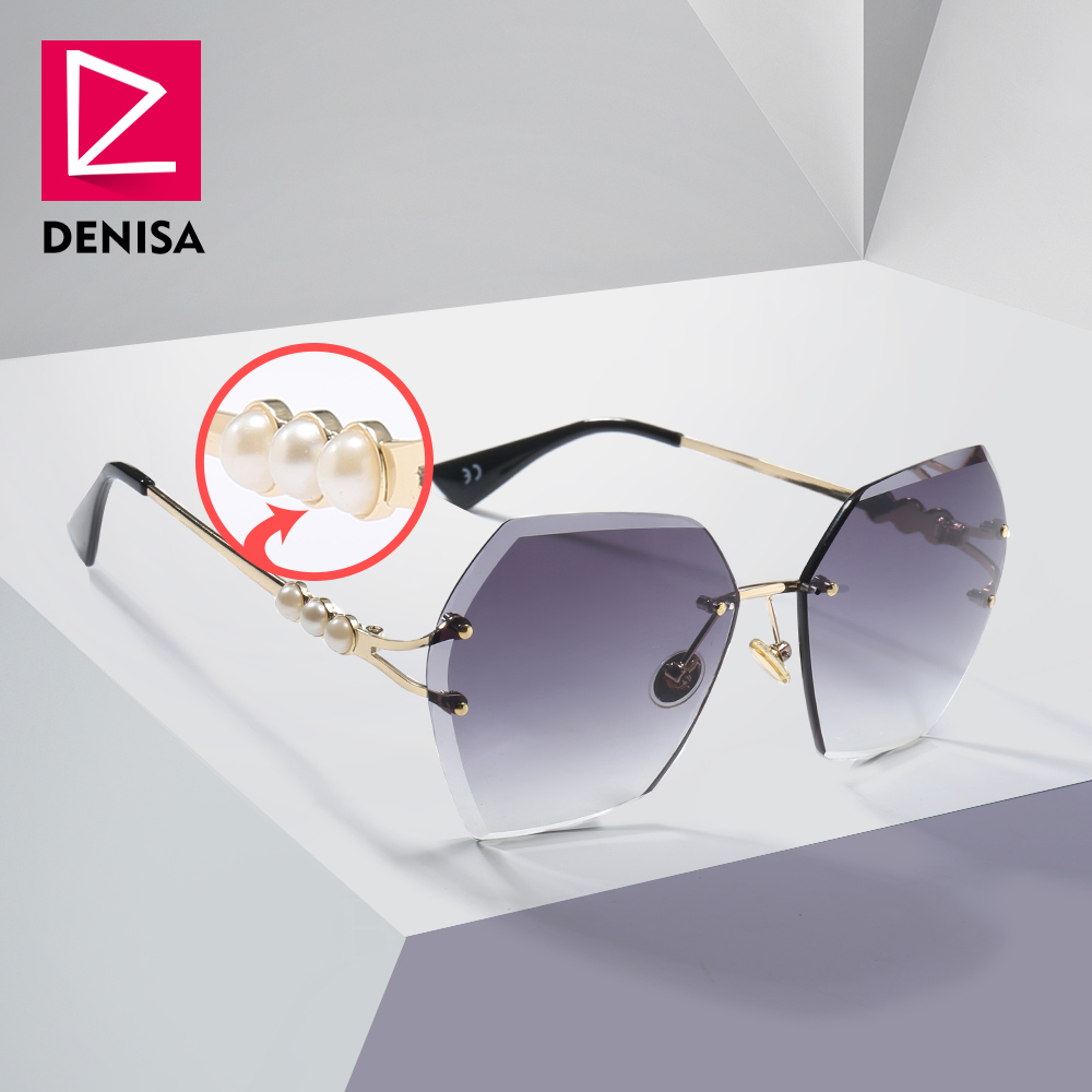 DENISA 2019 Square Rimless Pearl Sunglasses Retro Women