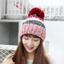 5768baf61f843 oZyc 2018 new Women s Winter Slouchy Knitted Hat Fleece Lined Cable Faux Fur  Pom Beanie Hat