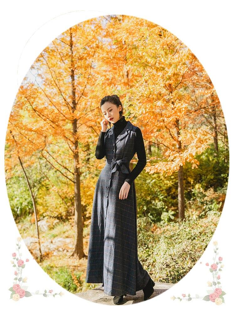 TANG Spring Autumn Velvet Dress Women's Black Vintage Wool Elegant Bodycon Party Dresses Plaid Long Maxi Dress vestidos (2)