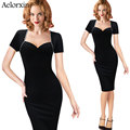 Aelorxin Woman Summer Sexy Dress Strapless Pencil Dress Short-sleeved Splicing Party Dresses 2017 Vestidos Office Dress