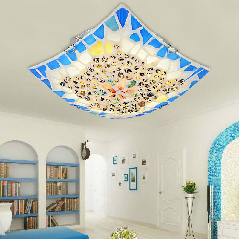 Modern Led shell Ceiling Lights For Living Room 30/40/50cm  E27 Bed Room Ceiling Light Fixture Ac 90-260v  y1012 mediterranean style tiffany shell ceiling lamp 20 25 30 35 40cm e27 ac 110 240v led ceiling lights luminarias light fixture
