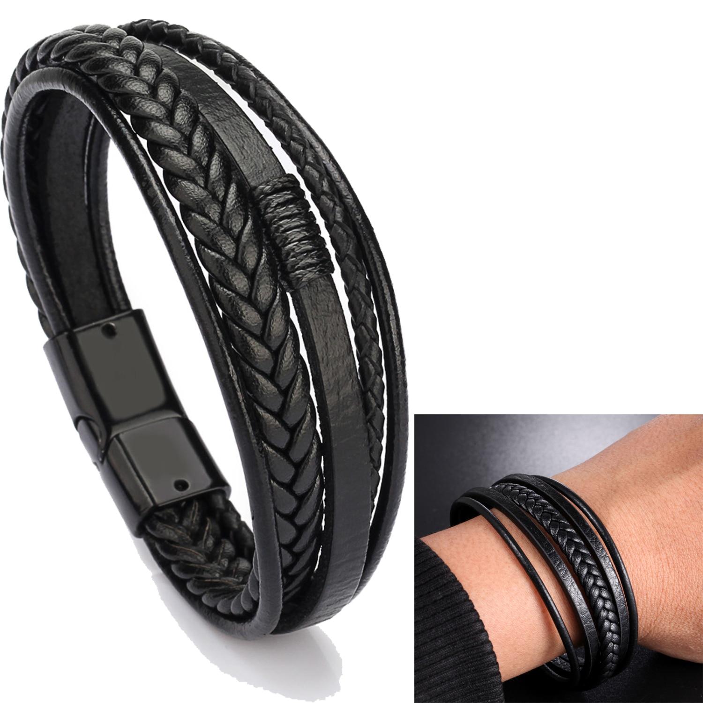 Bangles Armband Layer-Wrap Braided Trendy Bracelet Multi Magnetic-Clasp Men Pulsera Cowhide