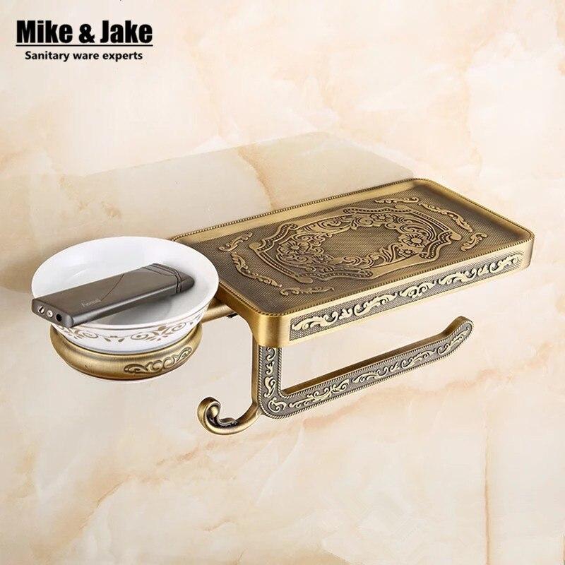 Antique salle de bains papier téléphone titulaire avec cendrier plateau salle de bains Mobile téléphones porte-serviettes toilette de support de papier boîtes
