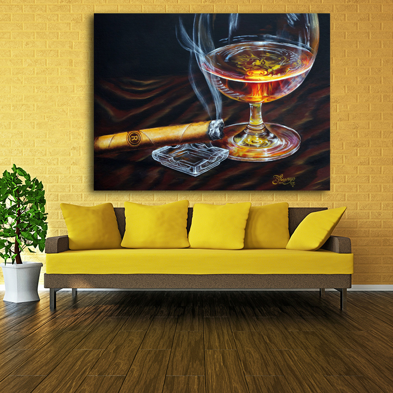 2017 Free shipping Canvas Prints wine Glasses cigar painting Wall ...