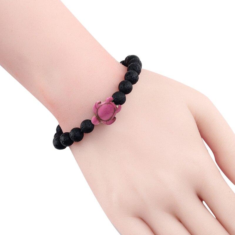 Summer Beach Sea Turtle Beads Bracelet for Men Charm Black Lava Natural Stone Strand Bracelets Elastic Women Boho Jewelry Gifts 3