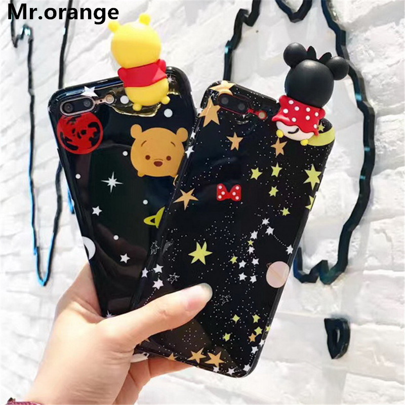 Mr.orange New 3D Toys Minnie Pooh Bear Mouse Phone Case For iPhone 7 7 plus 6 6s Plus Cute Cartoon BBF IMD Cases Cover Fundas