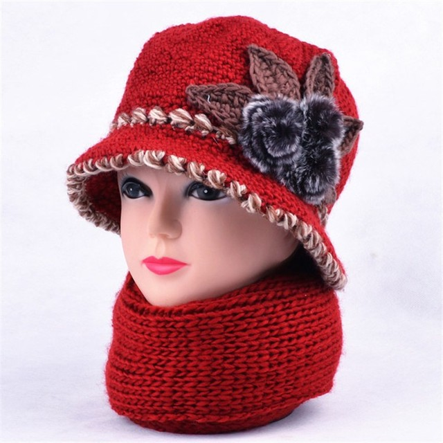 Women Winer Knit Bucket Cap And Scarf 2 Pcs Set Lady Knitted Cloche