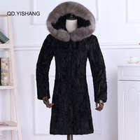 The new 2018 Karakul Sheep Fur fur coat real With a hat