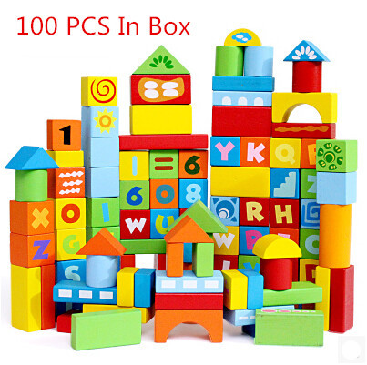 New Bottled 100 digital letter blocks wood blocks wool toy building blocks educational toys W027 high quality 50pcs classical and 52pcs forest animals wood building blocks toy bottled children educational wooden toy block