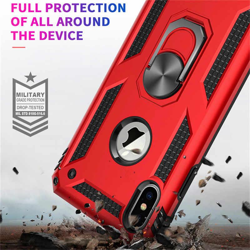 עמיד הלם שריון Kickstand טלפון מקרה עבור iPhone XR XS מקסימום X 6 6S 7 8 בתוספת אצבע מגנטי טבעת בעל אנטי-סתיו רך קצה כיסוי