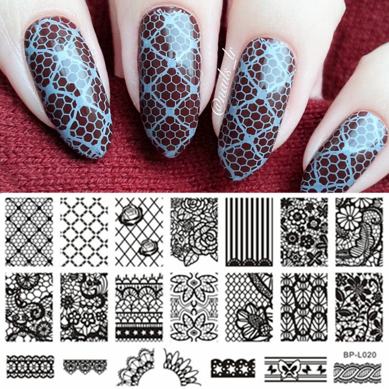 BORN PRETTY Nail Stamping Plates Lace Flower Pattern Nail Art Stämpel Bildmall Manikyr Stencils Nail Decoration BP-L020
