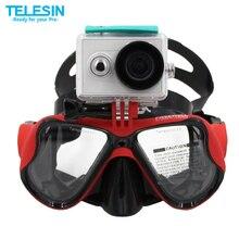 Telesin ir pro subaquática de mergulho máscara de mergulho snorkel natação óculos de proteção para gopro 5 hero, xiaomi yi ação acessórios da câmera set