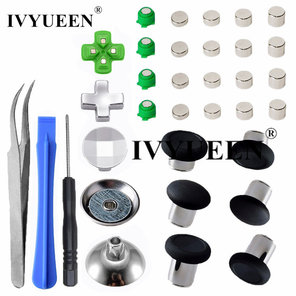 IVYUEEN Magnetic Metal Bullet Buttons For Dualshock 4 Playstation 4 PS4 Pro Slim Controller Thumbsticks Grips D-pad Accessories