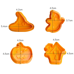 Image 3 - Bakeware 4pcs Halloween Theme Plunger Biscuit Mold Cutter plastic cookie cutter Biscuit Stamp Mould Fondant Tool Pastry  tools