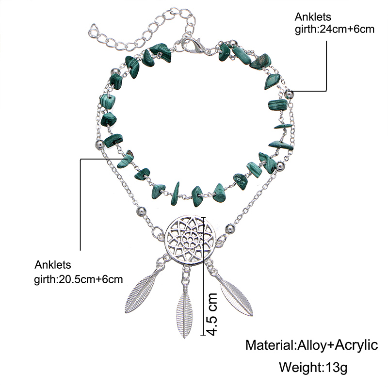Bohemia Beaded Anklets Feather Dream Catcher for Women Multi Layer Handmade Stone Foot Anklet Chain Bracelet Beach Boho Jewelry 4