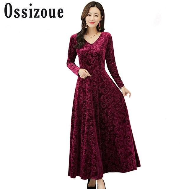 Plus Size XXXL 2018 Autumn Winter Velvet Maxi Dresses Long Elegant V Neck Slim Party Dresses Women Female Jacquard Vestidos