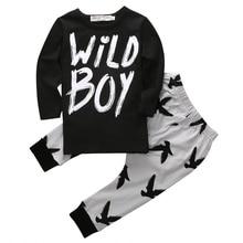 2016 Hotsale 2pcs Newborn Toddler Kids Baby Boy Autumn Warm Letter Clothes T-shirt Tops+Long Pants Infant Outfits Set