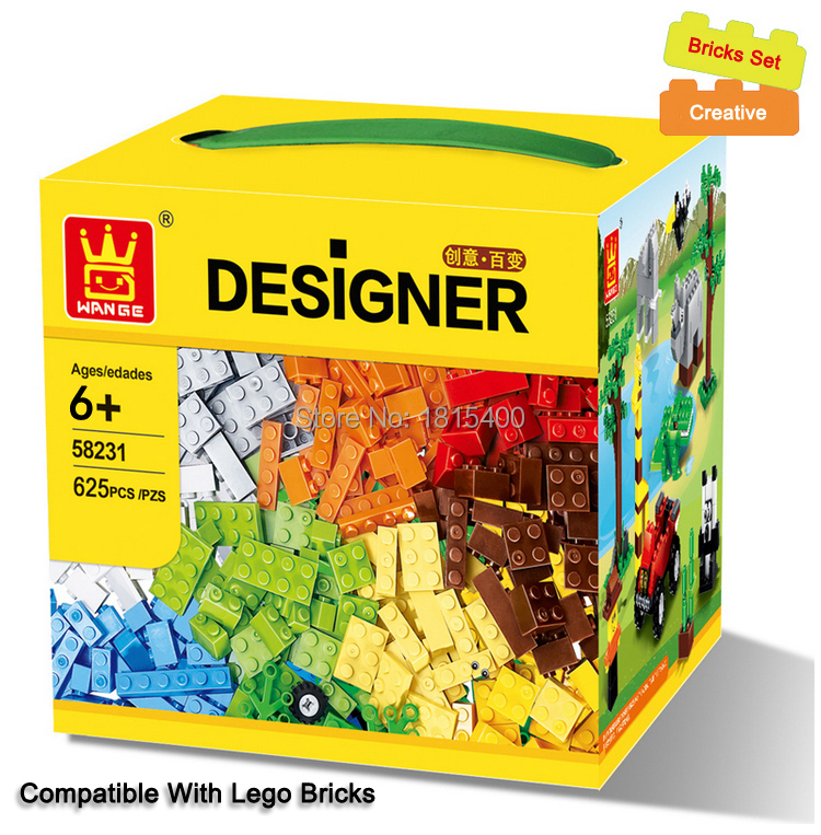 625st / lot Kids DIY Leksaker Educational Building Blocks Kompatibel med Lego Bricks Parts Pojkar Early Learning Plastic Assembly Leksaker