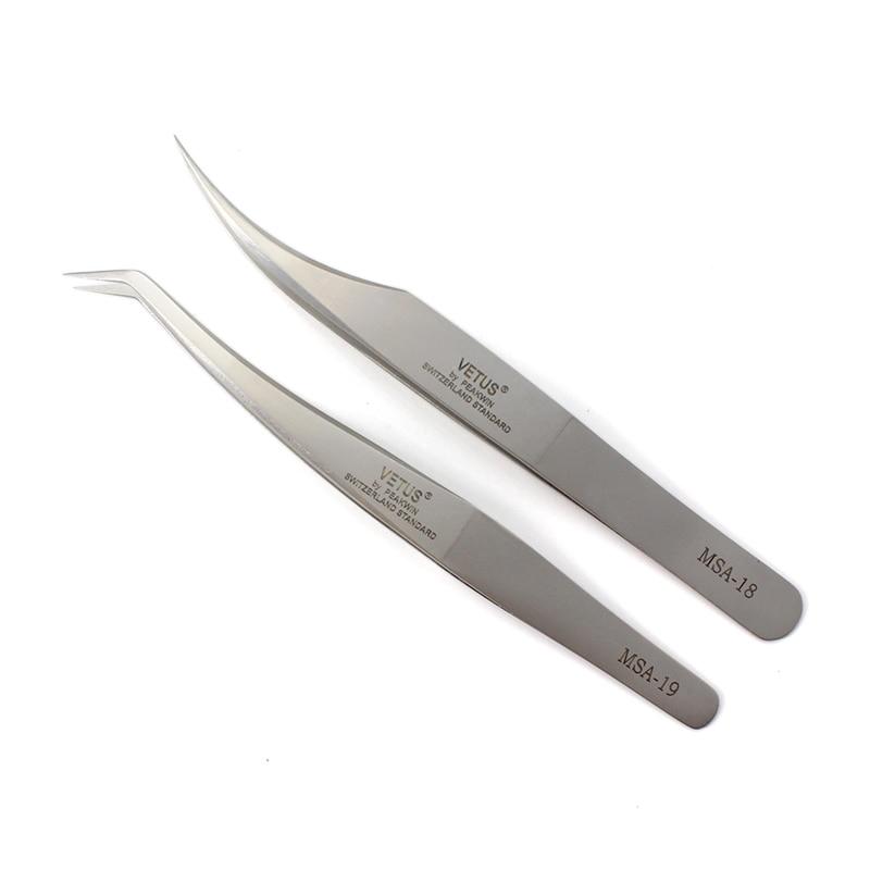 Vetus MSA series Ultra Rigidity Curved Tweezers Of Dolphin Design Fine Point Anti-Static Stainless Steel Tweezers