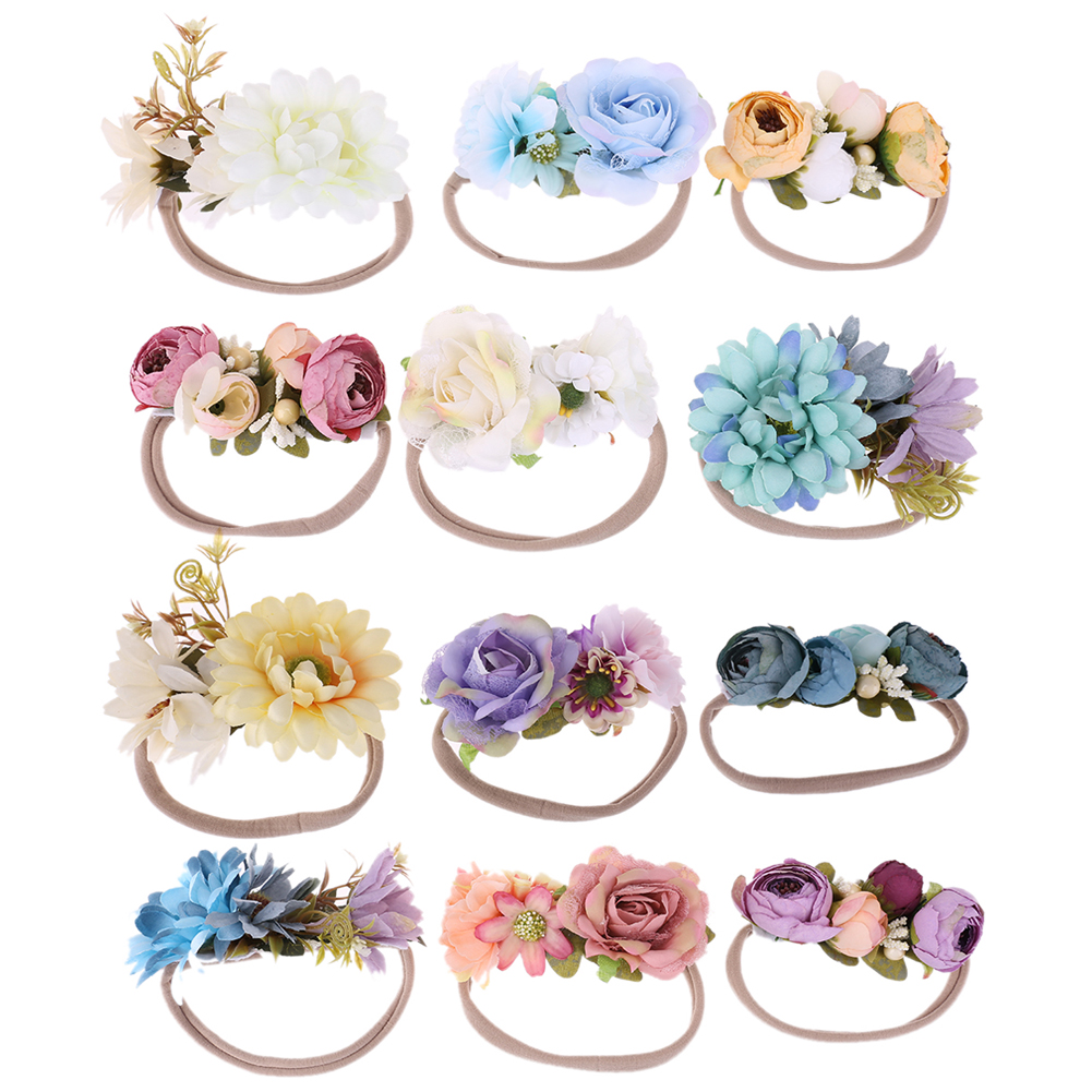 3 Pcs/Set Newborn Flower Headband Nylon Faux Flower Party Flowers Hair Bands Newborn   Headwear   Photography Props Hair Accessories