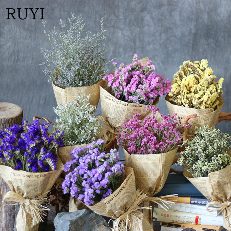 55cm Natural Air Dried Forget Me Not Dried Flower Bouquet Christmas Wedding Decoration Flowers Family Party Flower Arrangement Artificial Dried Flowers Aliexpress