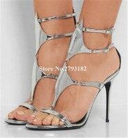 Brand Design Women Fashion Open Toe Stiletto Heel Gladiator Sandals Silver Pink Buckles High Heel Sandals Formal Dress Shoes