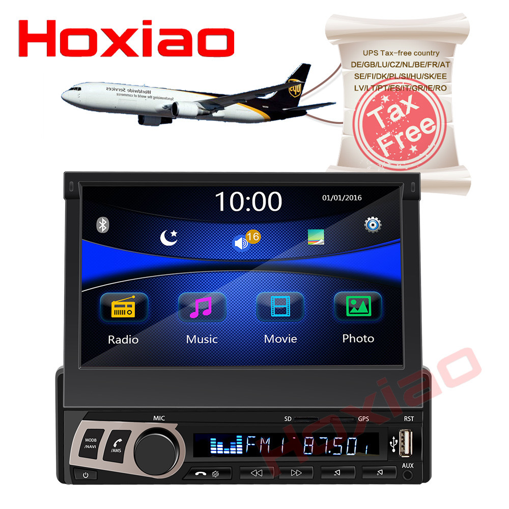 hoxiao 1 din Car Stereo audio Radio Bluetooth 1DIN 7 HD Retractable Touch Screen Monitor MP5