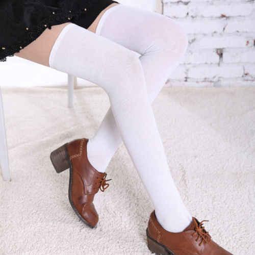 ผู้หญิงเคเบิลถักพิเศษสีดำสีขาวบูตยาวกว่าถุงน่องเข่าต้นขาโรงเรียนมัธยมสาวถุงน่อง
