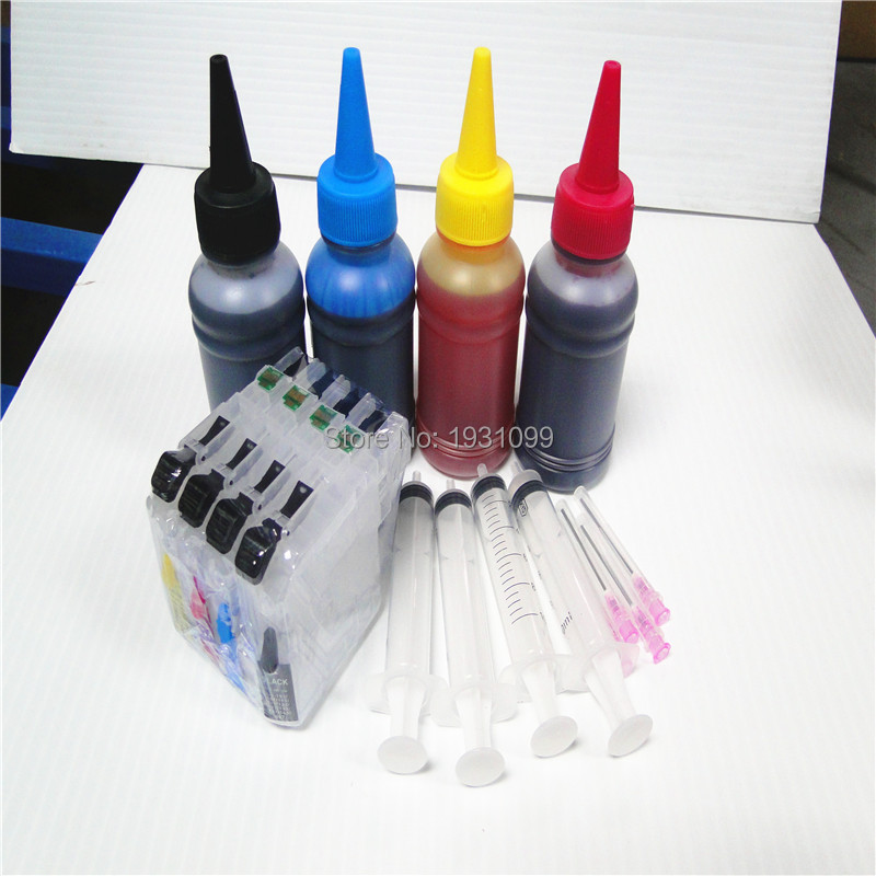 1Set 400ml dye ink + LC115xl LC117xl refill cartridge for brother DCP-J4210N MFC-J4510N inkjet printer with ARC chip