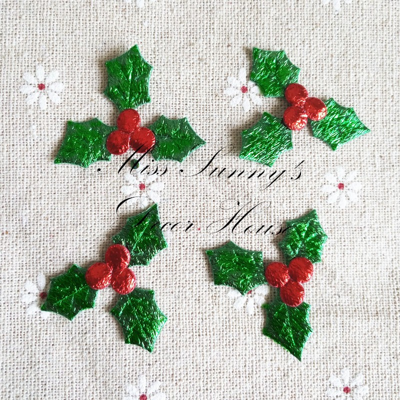 unidslote fruta roja con hojas verdes apliques para el caramelo de regalo caja
