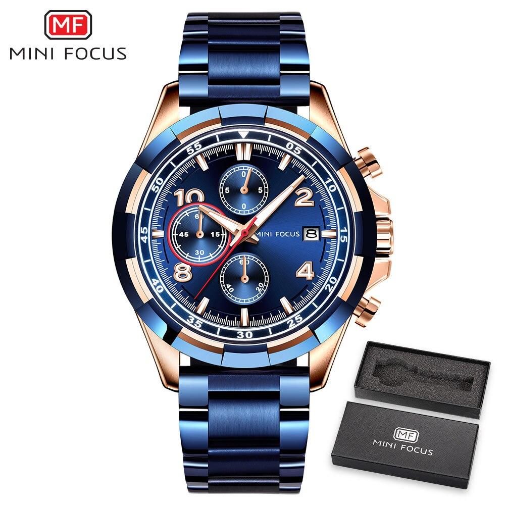 MINIFOCUS marque de luxe Montre pour Homme Montre à Quartz hommes étanche en acier inoxydable montres de Sport Montre-bracelet Homme horloges masculines